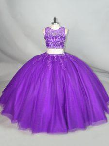 Simple Purple Two Pieces Beading Vestidos de Quinceanera Zipper Tulle Sleeveless