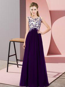 Fantastic Floor Length Empire Sleeveless Purple Court Dresses for Sweet 16 Zipper