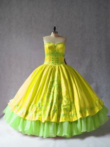 Yellow Sleeveless Satin and Organza Lace Up Quinceanera Gown for Sweet 16 and Quinceanera