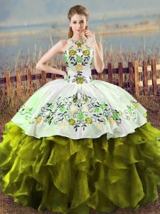 Hot Sale Halter Top Sleeveless Lace Up Quinceanera Gowns Olive Green Organza