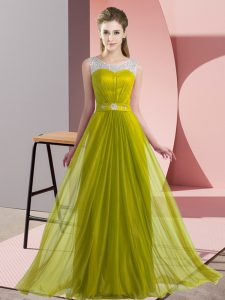 Olive Green Chiffon Lace Up Quinceanera Court of Honor Dress Sleeveless Floor Length Beading