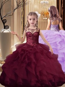 Enchanting Lace Up Little Girls Pageant Dress Burgundy for Party and Wedding Party with Beading and Ruffles Brush Train