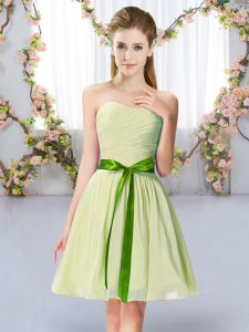 Latest Chiffon Sweetheart Sleeveless Lace Up Belt Quinceanera Court Dresses in Yellow Green