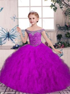 Purple Sleeveless Floor Length Beading and Ruffles Lace Up Little Girl Pageant Gowns