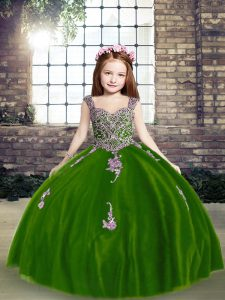 Vintage Sleeveless Floor Length Appliques Lace Up Little Girl Pageant Dress with Purple