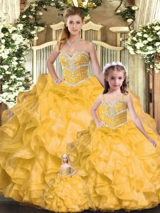 Hot Selling Sleeveless Organza Floor Length Lace Up 15th Birthday Dress in Gold with Beading and Ruffles