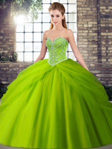 Sweetheart Lace Up Beading and Pick Ups Quinceanera Dress Brush Train Sleeveless