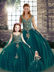 Straps Sleeveless Lace Up Quinceanera Gowns Peacock Green Tulle