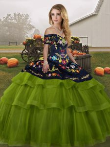 High Class Off The Shoulder Sleeveless Brush Train Lace Up 15 Quinceanera Dress Olive Green Tulle