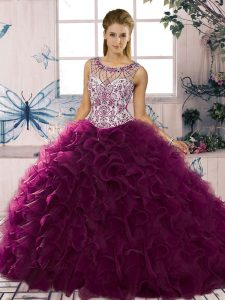 Trendy Dark Purple Ball Gowns Organza Scoop Sleeveless Beading and Ruffles Floor Length Lace Up Quinceanera Dress