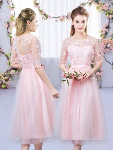 Wonderful Empire Dama Dress for Quinceanera Baby Pink Scoop Tulle Half Sleeves Tea Length Lace Up