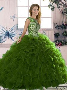 Olive Green Sleeveless Organza Lace Up Sweet 16 Dress for Military Ball and Sweet 16 and Quinceanera