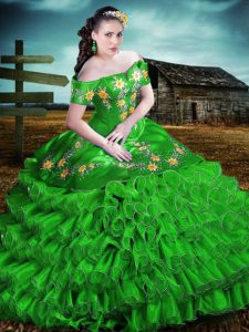 Floor Length Lace Up Sweet 16 Dresses Green for Sweet 16 and Quinceanera with Embroidery and Ruffles