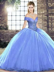 Sweet Lavender Sleeveless Organza Brush Train Lace Up Ball Gown Prom Dress for Military Ball and Sweet 16 and Quinceanera