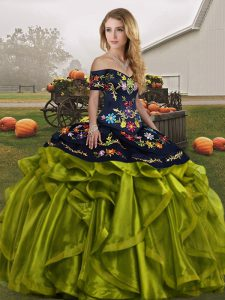 Elegant Sleeveless Floor Length Embroidery and Ruffles Lace Up 15 Quinceanera Dress with Olive Green