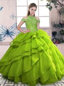 Custom Made Olive Green Ball Gowns Organza High-neck Sleeveless Beading and Ruffled Layers Floor Length Lace Up Vestidos de Quinceanera