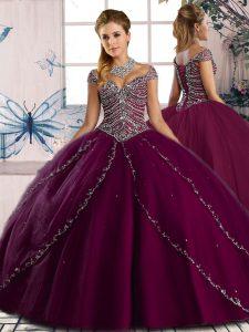 Purple Cap Sleeves Beading Lace Up Vestidos de Quinceanera