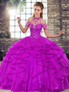 Halter Top Sleeveless Sweet 16 Quinceanera Dress Floor Length Beading and Ruffles Purple Tulle