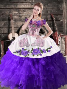 Classical Ball Gowns Sweet 16 Dress Purple Off The Shoulder Organza Sleeveless Floor Length Lace Up