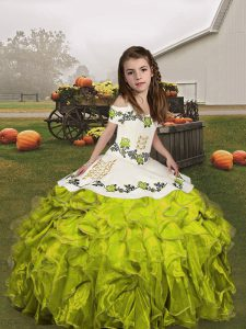 Excellent Floor Length Olive Green Girls Pageant Dresses Organza Sleeveless Embroidery and Ruffles