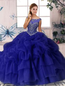 Custom Fit Sleeveless Brush Train Zipper Beading and Pick Ups Sweet 16 Dresses