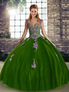 Floor Length Lace Up Quinceanera Gown Olive Green for Military Ball and Sweet 16 and Quinceanera with Beading and Appliques