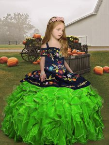 Clearance Ball Gowns Girls Pageant Dresses Straps Organza Sleeveless Floor Length Lace Up