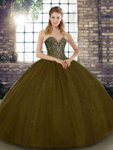 Floor Length Brown Quinceanera Dress Tulle Sleeveless Beading