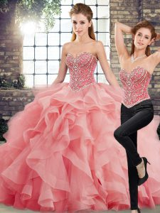 Sweetheart Sleeveless Brush Train Lace Up 15th Birthday Dress Watermelon Red Tulle