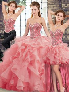Tulle Sweetheart Sleeveless Brush Train Lace Up Beading and Ruffles Quince Ball Gowns in Watermelon Red