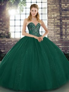 Most Popular Peacock Green Ball Gowns Sweetheart Sleeveless Tulle Floor Length Lace Up Beading 15th Birthday Dress