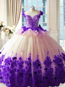 White And Purple Ball Gowns Scoop Sleeveless Tulle Brush Train Zipper Hand Made Flower 15th Birthday Dress