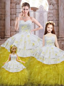 Glorious Beading and Appliques and Ruffles 15th Birthday Dress Yellow And White Lace Up Sleeveless Floor Length