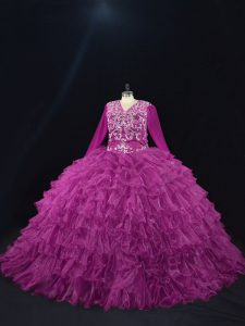 Exceptional Purple Organza Lace Up V-neck Long Sleeves Floor Length Sweet 16 Dress Beading and Ruffled Layers
