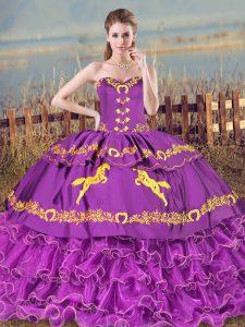Romantic Purple Quinceanera Dress Sweetheart Sleeveless Lace Up