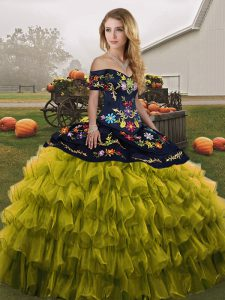 Designer Floor Length Lace Up Vestidos de Quinceanera Olive Green for Military Ball and Sweet 16 and Quinceanera with Embroidery and Ruffled Layers
