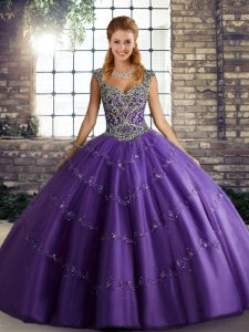 Purple Ball Gowns Tulle Straps Sleeveless Beading and Appliques Floor Length Lace Up Quince Ball Gowns