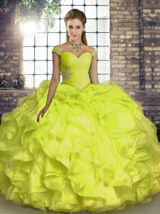 Yellow Ball Gowns Organza Off The Shoulder Sleeveless Beading and Ruffles Floor Length Lace Up Ball Gown Prom Dress