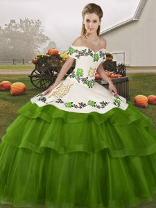 Embroidery and Ruffled Layers Vestidos de Quinceanera Olive Green Lace Up Sleeveless Brush Train