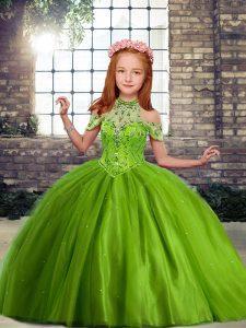 Nice Floor Length Olive Green Kids Formal Wear Off The Shoulder Sleeveless Lace Up