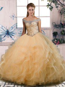 Sleeveless Lace Up Floor Length Beading and Ruffles 15th Birthday Dress