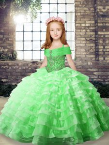 Sleeveless Beading and Ruffled Layers Lace Up Pageant Gowns For Girls