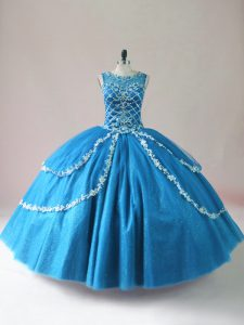 Glamorous Blue Ball Gowns Scoop Sleeveless Tulle Floor Length Lace Up Beading and Appliques Quinceanera Dress