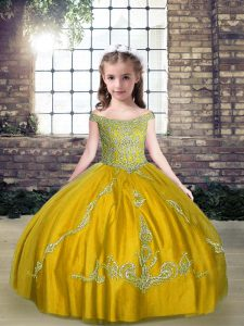 Low Price Olive Green Ball Gowns Tulle Off The Shoulder Sleeveless Beading Floor Length Lace Up High School Pageant Dress
