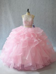 Enchanting Baby Pink Sleeveless Brush Train Beading and Ruffles Quinceanera Gown