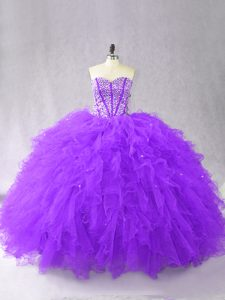 Ball Gowns Sweet 16 Dresses Purple Sweetheart Tulle Sleeveless Floor Length Lace Up