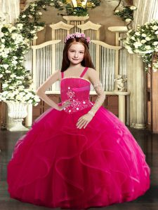 Affordable Sleeveless Floor Length Beading and Ruffles Lace Up Child Pageant Dress with Hot Pink