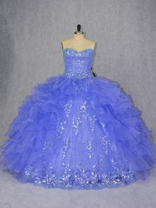 Sleeveless Appliques and Ruffles Lace Up Sweet 16 Quinceanera Dress