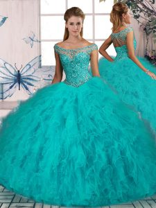 Aqua Blue Quinceanera Gown Sweet 16 and Quinceanera with Beading and Ruffles Off The Shoulder Sleeveless Brush Train Lace Up