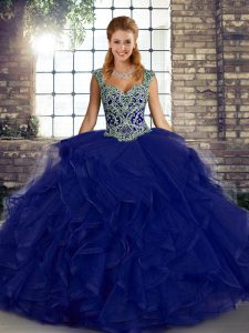 Sumptuous Sleeveless Lace Up Floor Length Beading and Ruffles Quinceanera Dress